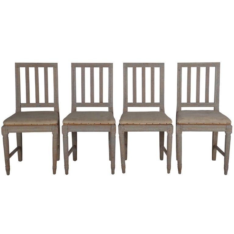 Four Painted Gustavian Dining Chairs For Sale