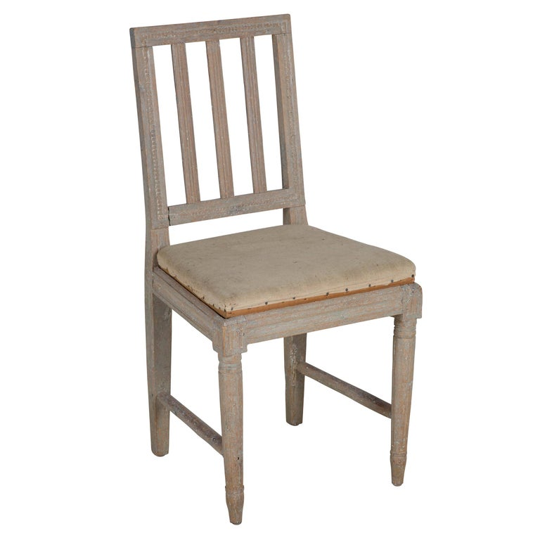 19th Century Four Painted Gustavian Dining Chairs For Sale