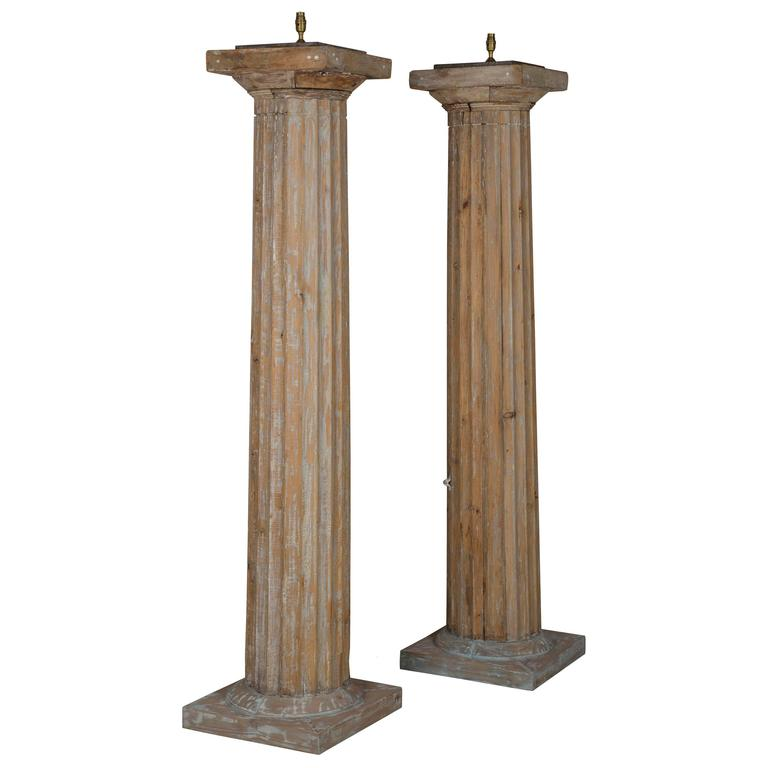 Giant 19th Century Column Lamps