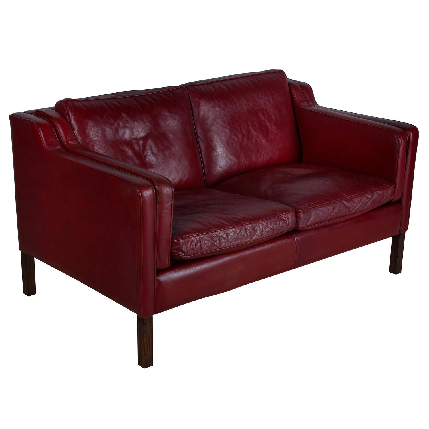 Leather Sofas Gloucestershire: Borge Mogensen Red Leather Sofa At 1stdibs