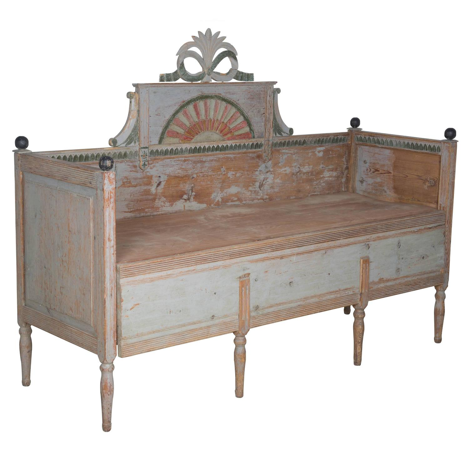 Original Painted Gustavian Bench Pull Out Bed For Sale At