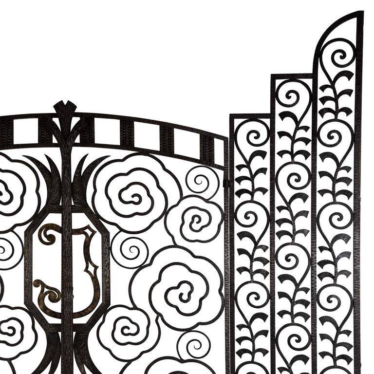 An exceptional and highly decorative pair of French wrought iron internal gates. Dating from the late 1920s-Early 1930s these rare gates are of the highest quality and in complete original condition.