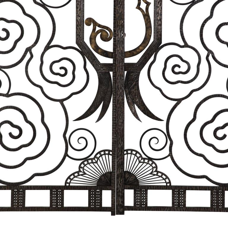 Wrought Iron Superb Pair of French Art Deco Gates For Sale