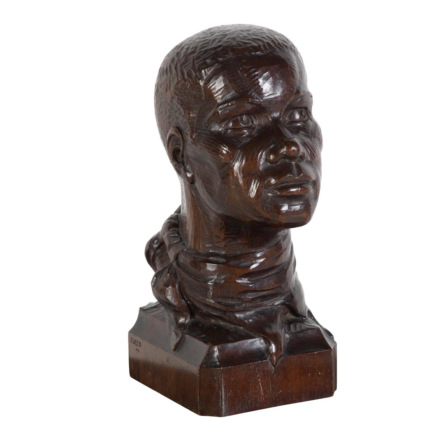 African american carved wooden bust for sale at stdibs