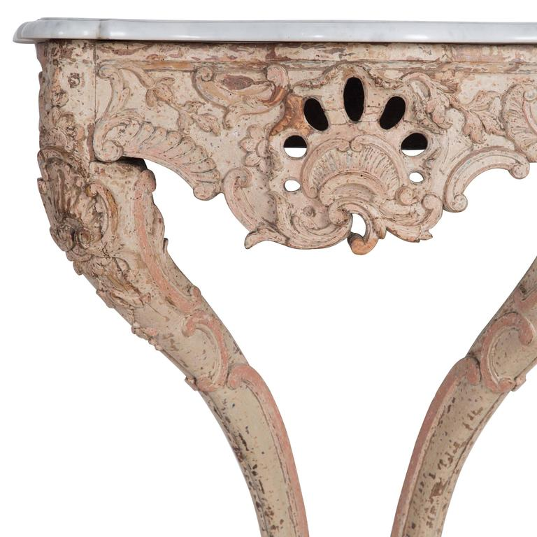 20th Century Marble Topped Console Table For Sale