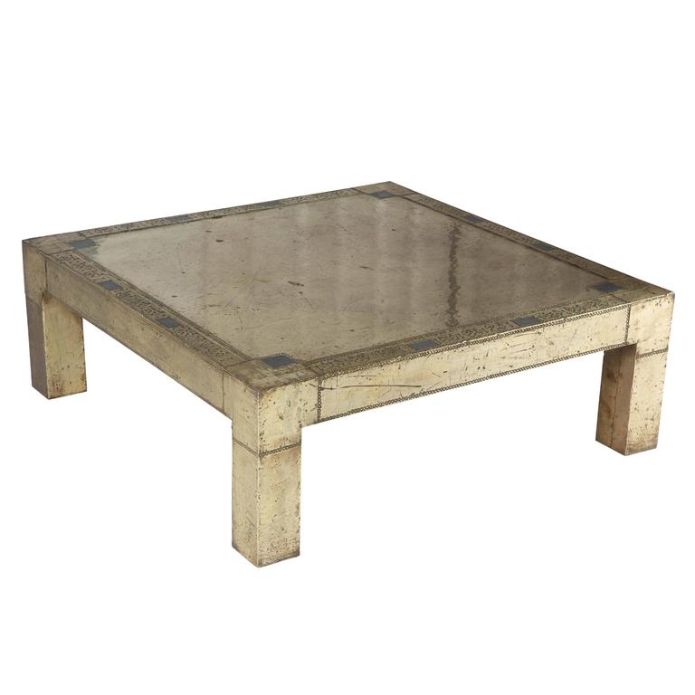 Rodolpho Dubarry Signed Brass Spanish Coffee Table Circa 1970s For Sale At 1stdibs