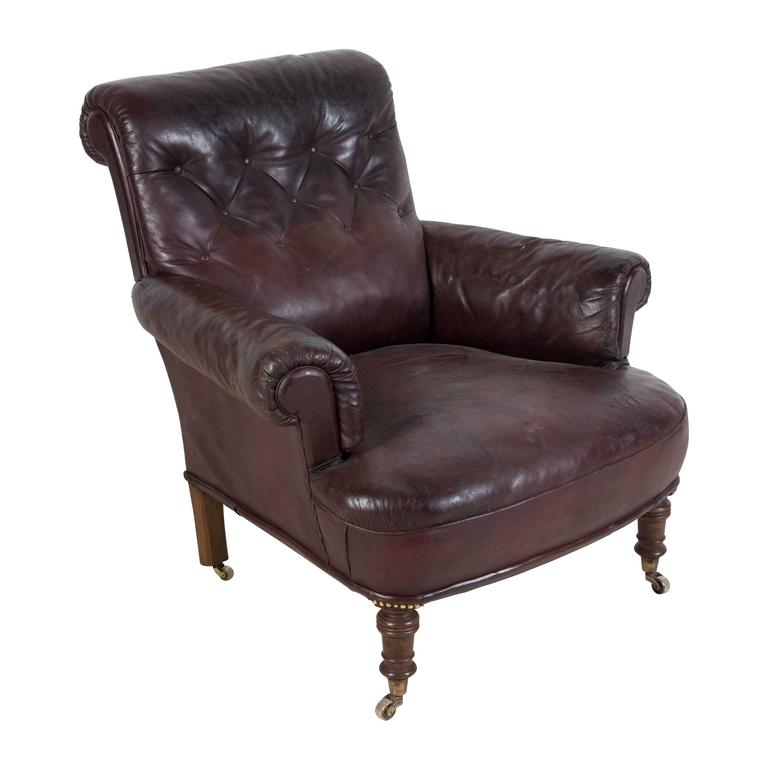 19th century english leather club chair for sale at 1stdibs. Black Bedroom Furniture Sets. Home Design Ideas