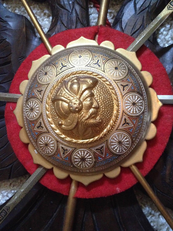 Wood Plaque Centerpiece : Vintage spanish sword stand carved wood plaque enameled