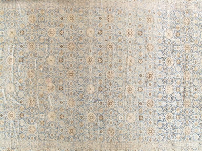 Hand-Knotted Antique Persian Tabriz Carpet, Pale Light Blue and Beige Carpet, Allover design For Sale