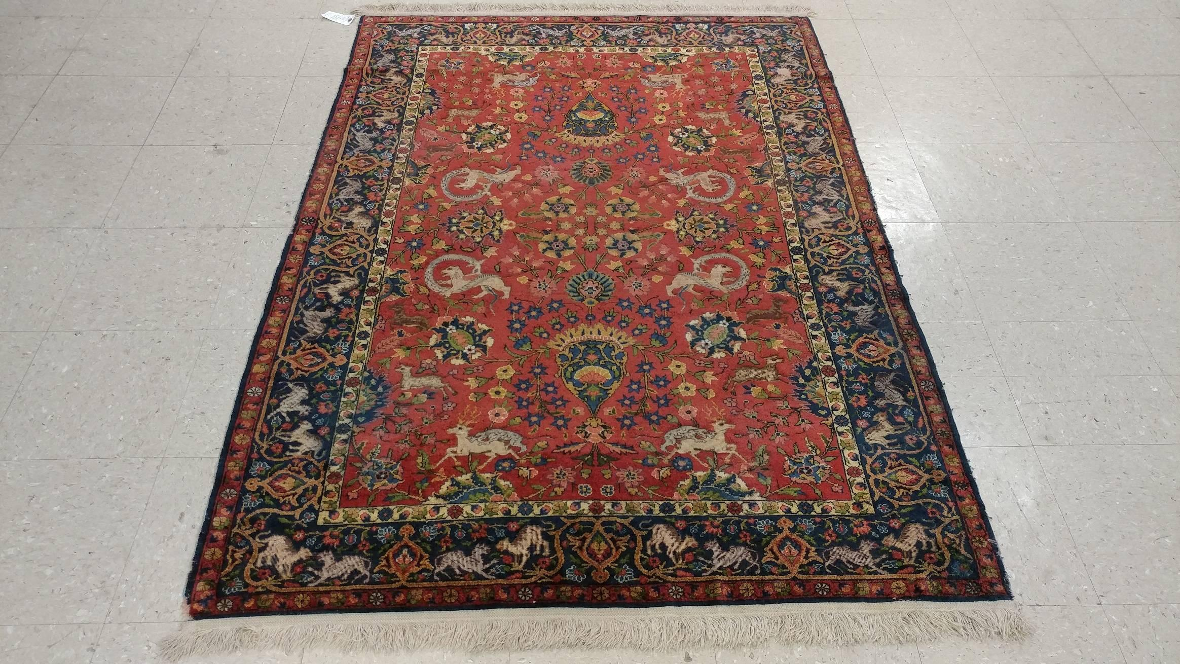 Antique Silk Turkish Rug, Handmade Oriental Rug, Red and Blue, Fine Silk Rugs For Sale at 1stdibs