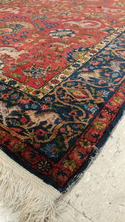 Antique Silk Turkish Rug Handmade Oriental Rug Red And