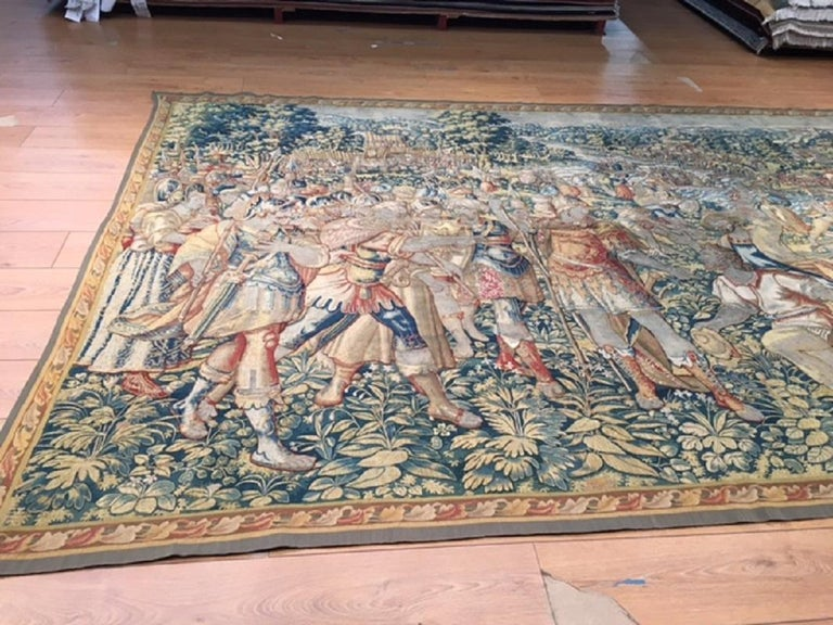 Baroque Fine 16th Century Brussels Tapestry, Light Blue, Green, Ivory Silk For Sale