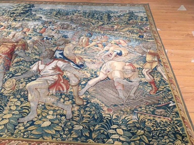 18th Century and Earlier Fine 16th Century Brussels Tapestry, Light Blue, Green, Ivory Silk For Sale