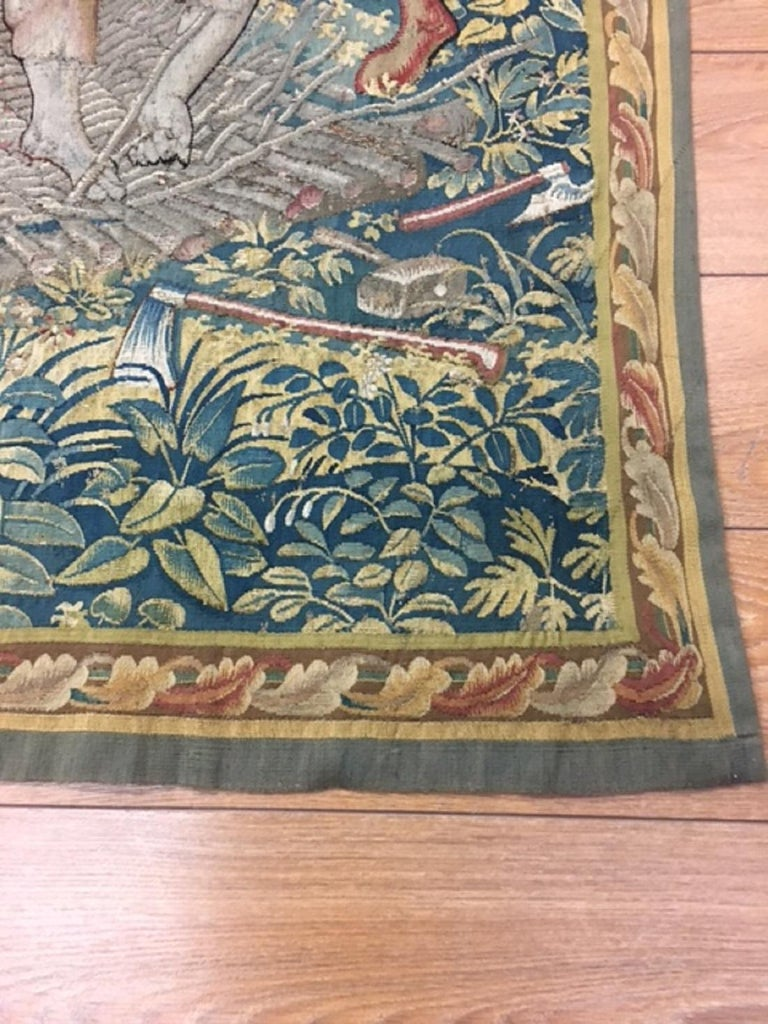 Fine 16th Century Brussels Tapestry, Light Blue, Green, Ivory Silk For Sale 1