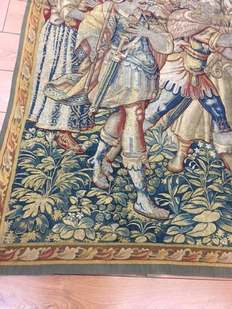 Fine 16th Century Brussels Tapestry, Light Blue, Green, Ivory Silk For Sale 3
