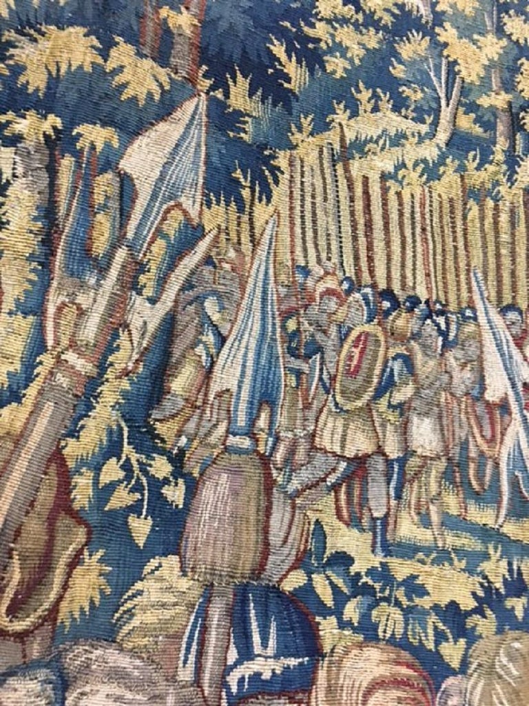 Fine 16th Century Brussels Tapestry, Light Blue, Green, Ivory Silk For Sale 4