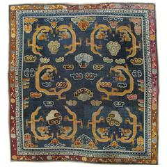 Antique Tibetan Carpet, Circa 1880 Handmade Oriental Rug, Blue, Gold, Tan, Cream