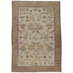 Antique Persian Sultanabad Carpet, Handmade Oriental Rug, Ivory, Gold, Green
