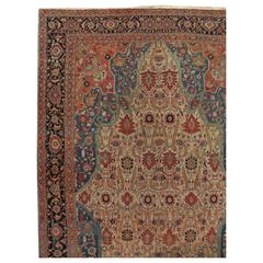 Antique Persian Serapi Carpet, Handmade Wool Oriental Rug, Ivory and Light Blue