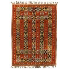 "Vintage Moroccan Carpet, Colorful Handmade Rug, Coral, Brown, Tan 8'8""x12'"
