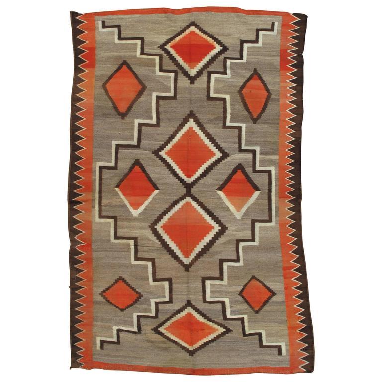 Antique Navajo Trans Blanket, Oriental Rug, Handmade Wool Rug, Orange, Gray