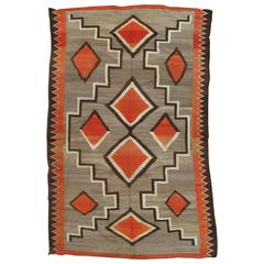 Antique Navajo Trans Blanket, Oriental Rug, Handmade Wool Rug, Orange, Gray