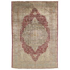 Antique Persian Silk Tabriz Carpet, Handmade Oriental Rug, Red, Ivory, Gold