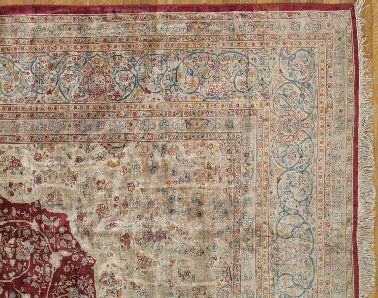 Antique Persian Silk Tabriz Carpet Handmade Oriental Rug
