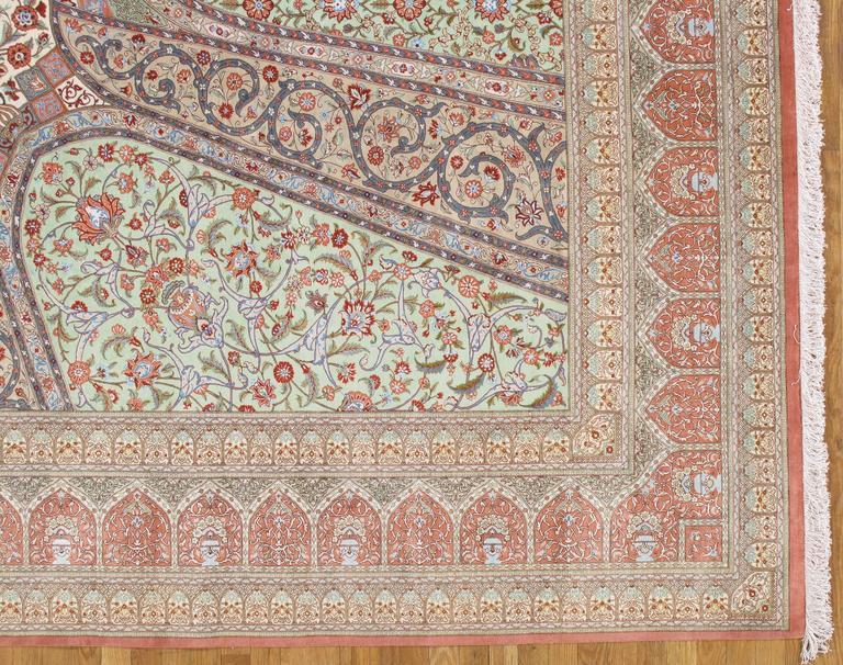 Rare Finely Woven Persian Silk Qum Handmade Oriental Rug