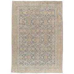 Antique Persian Sultanabad Carpet, Handmade Oriental Rug, Light Blue, Taupe Fine