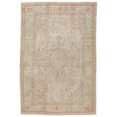 Antique Oushak Carpet, Handmade Oriental Rug, Shrimp Pink, Taupe, Cream Fine Rug