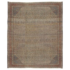 Antique Bijar Carpet Oriental Rug, Handmade, Ivory and Light Blue, Terracotta