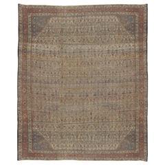 Antiker handgeknüpfter Bijar-Teppich, hellblau, elfenbeinfarben und rot