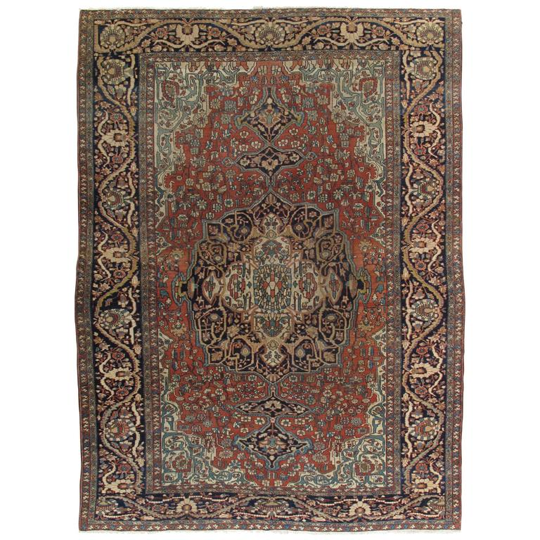 Green Navy Rug: Antique Farahan Sarouk Carpet, Handmade Oriental Rug