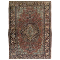 Antique Farahan Sarouk Carpet, Handmade Oriental Rug, Ivory, Navy, Green, Rust