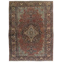 Antique Farahan Sarouk Carpet, Handmade Oriental Rug, Ivory, Navy, Green, Rust