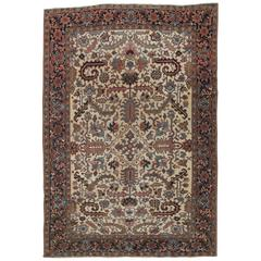 Antique Persian Heriz Carpet, Handmade Wool Oriental Rug, Ivory and Light Blue