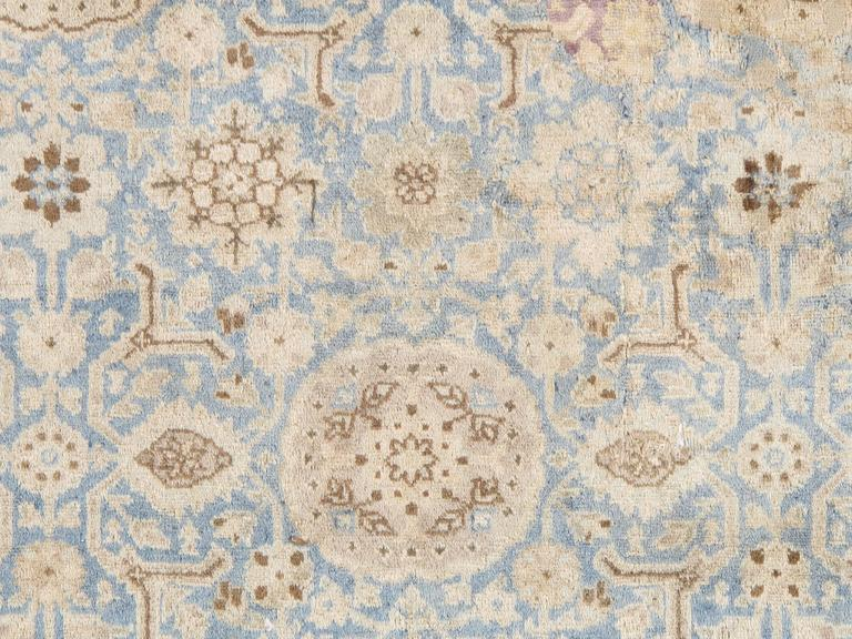 Antique Persian Tabriz Carpet, Pale Light Blue and Beige Carpet, Allover design In Excellent Condition For Sale In New York, NY