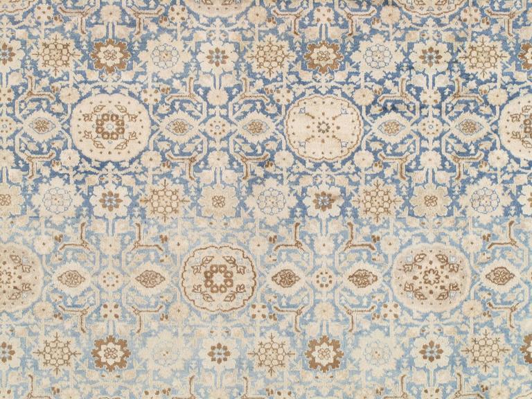 19th Century Antique Persian Tabriz Carpet, Pale Light Blue and Beige Carpet, Allover design For Sale