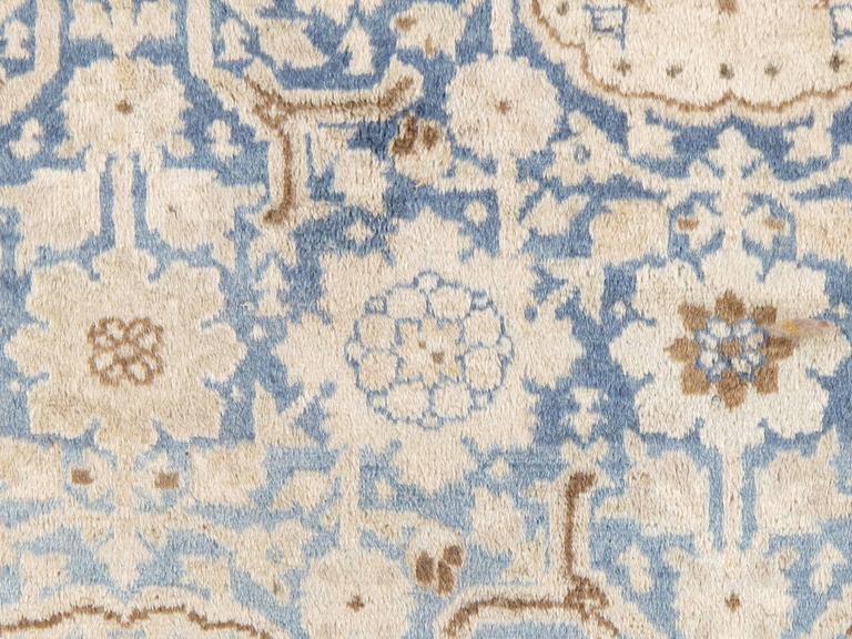 Wool Antique Persian Tabriz Carpet, Pale Light Blue and Beige Carpet, Allover design For Sale