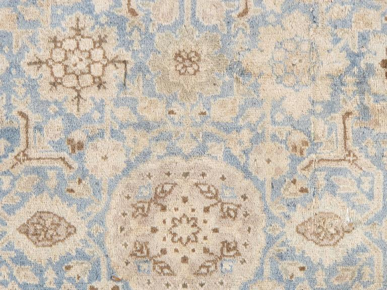 Antique Persian Tabriz Carpet, Pale Light Blue and Beige Carpet, Allover design For Sale 1