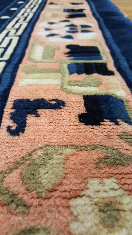 Antique Peking Chinese Rug Handmade Oriental Rug Blue