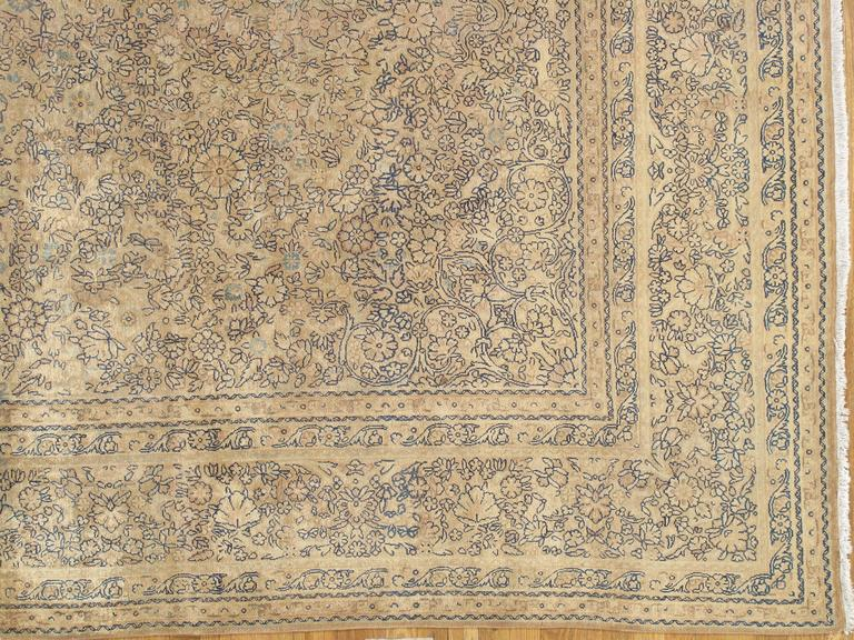 Hand-Knotted Antique Persian Kerman Carpet, Oriental Rug, Handmade For Sale