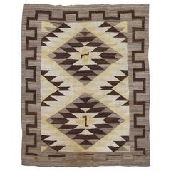 Antique Navajo Rug Fine Oriental Rug, Gray, Soft Yellow, Brown, Ivory