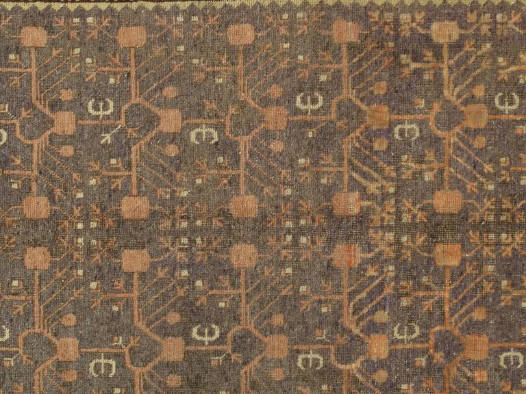 Antique Khotan rugs and carpets were produced in small villages of Eastern Turkestan, which today is a part of the Xinjiang region in Western China. This area has had a steady production of carpets since the 17th century, peaking in the 18th and