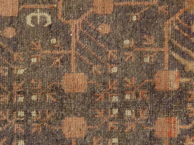 East Turkestani Vintage Khotan Rug, Handmade Oriental Rug, Soft shrimp, Beige, Brown, Char Gray For Sale