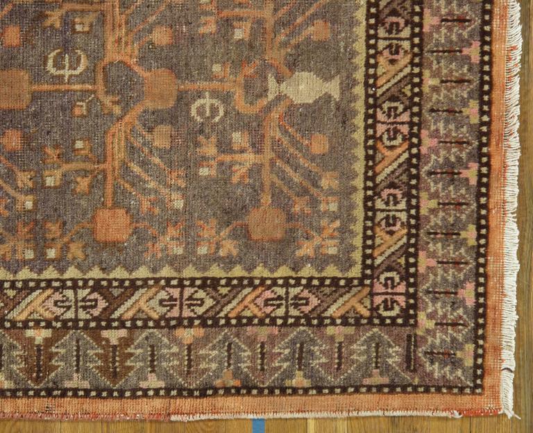 Hand-Knotted Vintage Khotan Rug, Handmade Oriental Rug, Soft shrimp, Beige, Brown, Char Gray For Sale