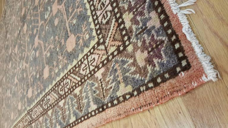Vintage Khotan Rug, Handmade Oriental Rug, Soft shrimp, Beige, Brown, Char Gray In Excellent Condition For Sale In New York, NY
