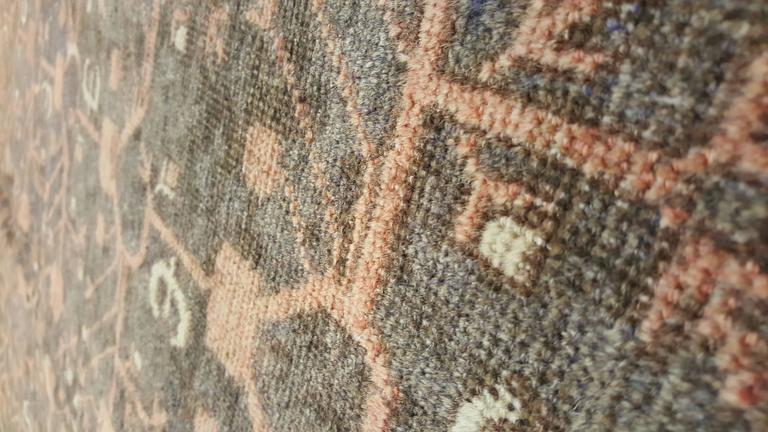 Wool Vintage Khotan Rug, Handmade Oriental Rug, Soft shrimp, Beige, Brown, Char Gray For Sale