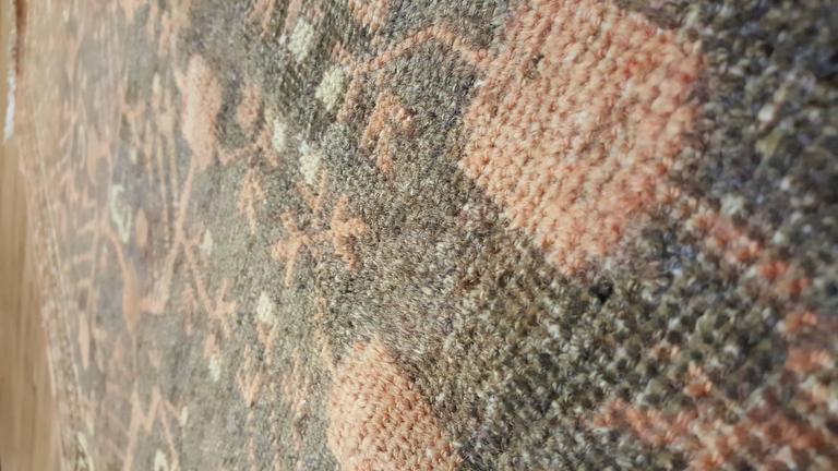 Vintage Khotan Rug, Handmade Oriental Rug, Soft shrimp, Beige, Brown, Char Gray For Sale 1